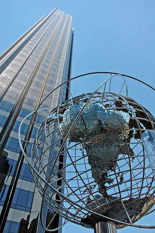 Globe sculpture and building