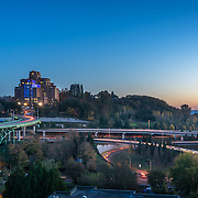 Sunset view of Jose Rizal Bridge and Pacific Tower, Beacon Hill, Seattle. Photo by Alabastro Photography.
