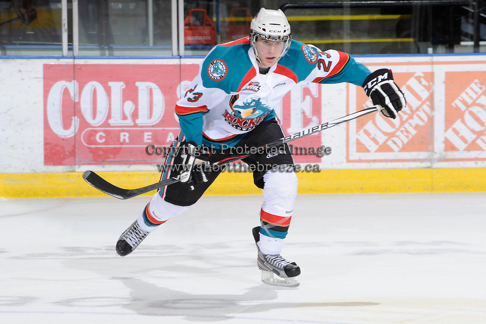 KELOWNA, CANADA, FEBRUARY 11: Tanner Moar #23 of the Kelowna Rockets skates on the ice as the Kamloops Blazers visit the Kelowna Rockets on February 11, 2012 at Prospera Place in Kelowna, British Columbia, Canada (Photo by Marissa Baecker/Shoot the Breeze) *** Local Caption ***