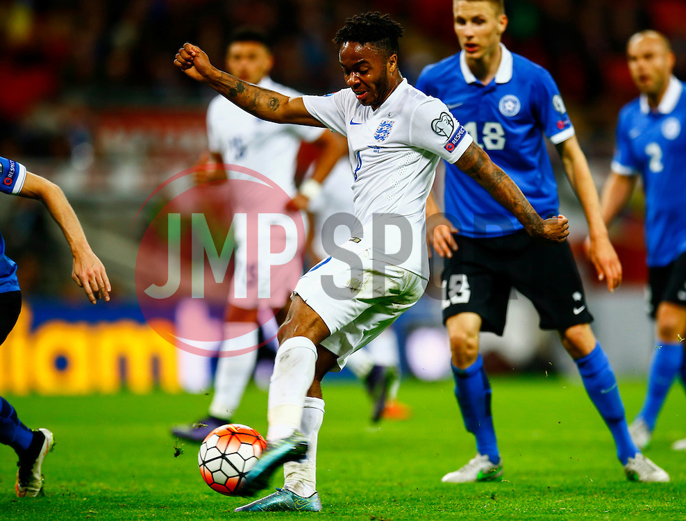 Raheem Sterling of England shot is blocked - Mandatory byline: Jason Brown/JMP - 07966 386802 - 09/10/2015- FOOTBALL - Wembley Stadium - London, England - England v Estonia - Euro 2016 Qualifying - Group E