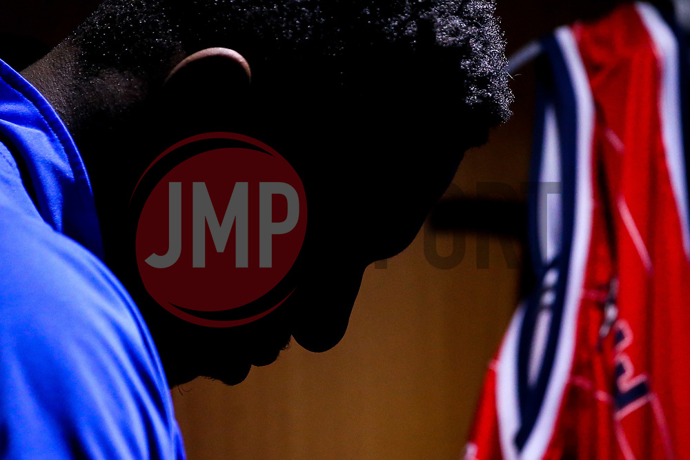 Daniel Edozie of Bristol Flyers in the changing room - Photo mandatory by-line: Robbie Stephenson/JMP - 29/03/2019 - BASKETBALL - English Institute of Sport - Sheffield, England - Sheffield Sharks v Bristol Flyers - British Basketball League Championship