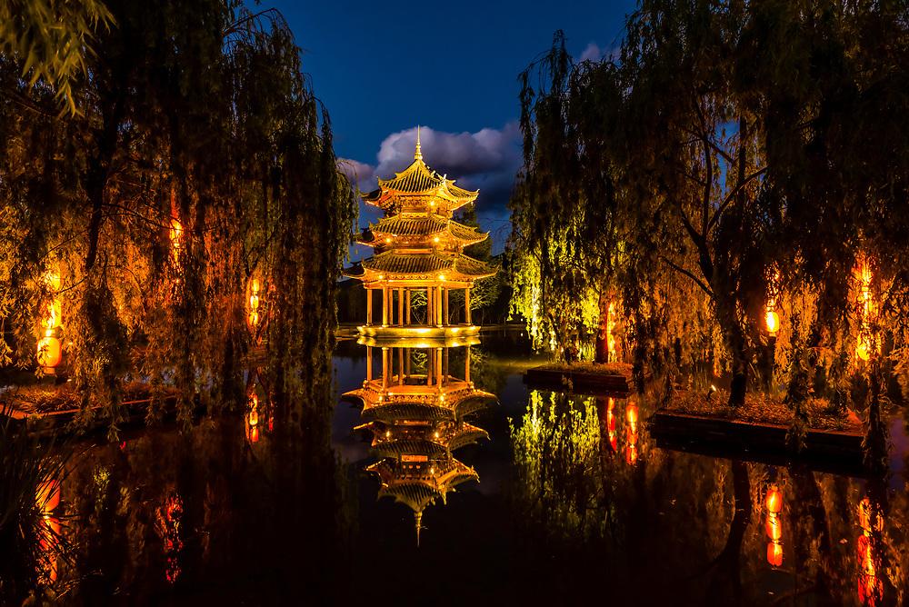 A pagoda at the Banyan Tree Lijiang resort hotel, Shuhe, Yunnan Province, China.