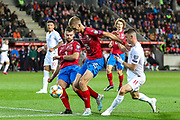 Czech Republic midfielder Tomas Soucek (15) holds off England forward Mason Mount during the UEFA European 2020 Qualifier match between Czech Republic and England at Sinobo Stadium, Prague, Czech Republic on 11 October 2019.
