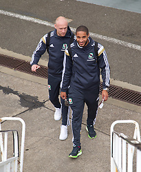 CARDIFF, WALES - Thursday, March 26, 2015: Wales' captain Ashley Williams and Simon Church board the flight at Cardiff Airport as the squad prepare to fly to Tel Aviv ahead of the UEFA Euro 2016 qualifying Group B match against Israel. (Pic by David Rawcliffe/Propaganda)
