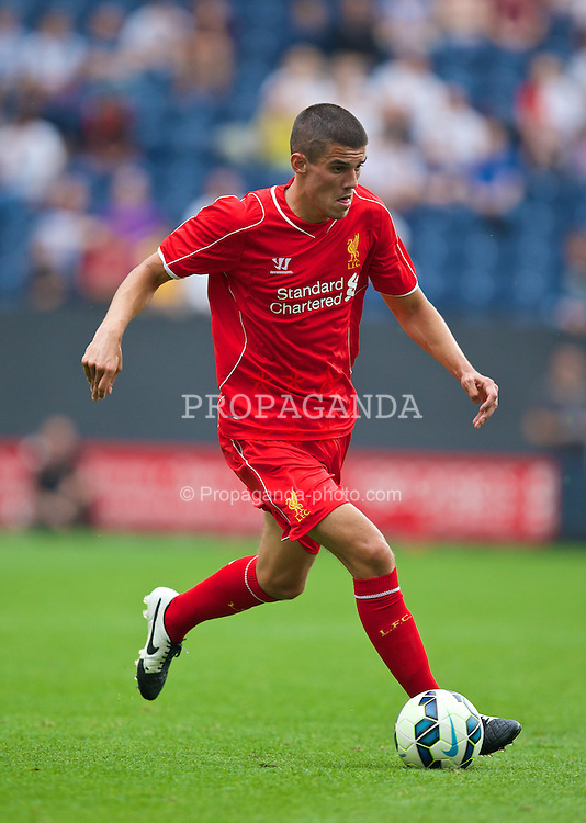PRESTON, ENGLAND - Saturday, July 19, 2014: Liverpool's Conor Coady in action against Preston North End during a preseason friendly match at Deepdale Stadium. (Pic by David Rawcliffe/Propaganda)