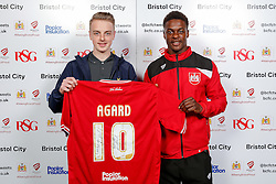 Kieran Agard of Bristol City poses during the Player Sponsors' Evening in the Sports Bar & Grill at Ashton Gate - Mandatory byline: Rogan Thomson/JMP - 11/04/2016 - FOOTBALL - Ashton Gate Stadium - Bristol, England - Bristol City Player Sponsors' Evening.