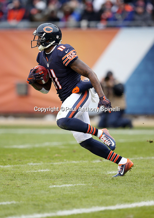 Chicago Bears wide receiver Josh Bellamy (11) runs a reverse on a third quarter kick return during the NFL week 17 regular season football game against the Detroit Lions on Sunday, Jan. 3, 2016 in Chicago. The Lions won the game 24-20. (©Paul Anthony Spinelli)