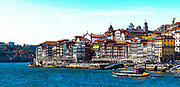 Digitally enhanced Panoramic image of Ribeira, Old Town, Porto, Portugal as seen from Vila Nova de Gaia across the Douro River