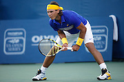 CINCINNATI, OH - AUGUST 20: Rafael Nadal of Spain awaits the serve from Paul-Henri Mathieu of France during day four of the Western & Southern Financial Group Masters on August 20, 2009 at the Lindner Family Tennis Center in Cincinnati, Ohio. Nadal defeated Mathieu 7-5, 6-2. (Photo by Joe Robbins)