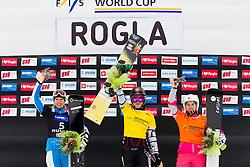 Marion Kreiner (AUT), Ester Ledecka (CZE) and Ekaterina Tudegesheva (RUS) during flower ceremony after Parallel Giant Slalom at FIS Snowboard World Cup Rogla 2016, on January 23, 2016 in Course Jasa, Rogla, Slovenia. Photo by Urban Urbanc / Sportida