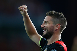 August 31, 2017 - Liege, BELGIUM - Belgium's Dries Mertens celebrates during a soccer between Belgian national soccer team Red Devils and Gibraltar, a World Cup 2018 qualification game in Group H, Thursday 31 August 2017 in Liege, Belgium. BELGA PHOTO BRUNO FAHY (Credit Image: © Bruno Fahy/Belga via ZUMA Press)