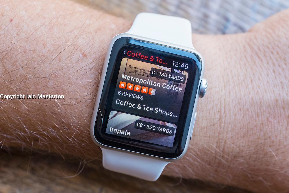 TripAdvisor app showing cafes in Berlin on an Apple Watch