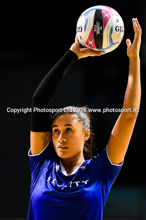 Maria Tutaia of the Mystics warming up during the ANZ Championship netball game Canterbury Tactixs V Northern Mystics at  Horncastle Arena, Christchurch, New Zealand. 25th April 2016. Copyright Photo: John Davidson / www.photosport.nz