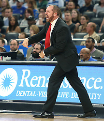 December 22, 2017 - Orlando, FL, USA - Orlando Magic coach Frank Vogel screams at game officials during action against the New Orleans Pelicans at the Amway Center in Orlando, Fla., on Friday, Dec. 22, 2017. (Credit Image: © Stephen M. Dowell/TNS via ZUMA Wire)