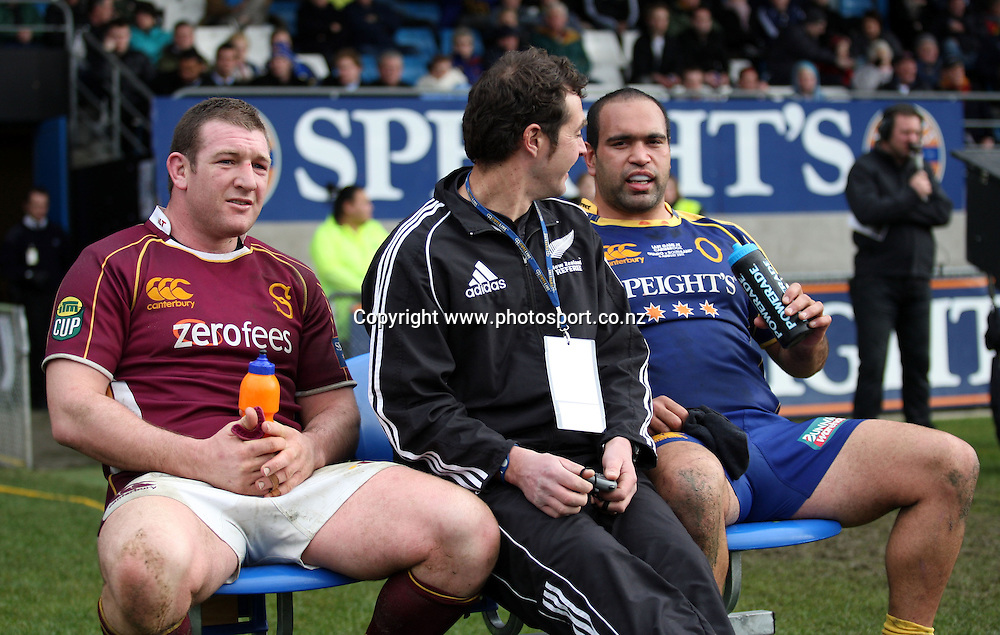 Chris King and James McGoughan sit in the sin-bin.<br /> Rugby - ITM Cup - Otago v Southland, 6 August 2011, Carisbrook, Dunedin, New Zealand.<br /> Photo: Rob Jefferies/PHOTOSPORT