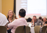 Kaitlin Braithwaite, of Fort Wayne, Ind., listens to Patrick Donadio present during the Leadership Development Program event in Baker Ballroom on August 26, 2016. Photo by Emily Matthews