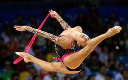 Russia's Evgeniya Kanaeva performs with the rope during the individual all-around finals for rhythmic gymnastics during the Olympic games in Beijing, China, 23 August 2008. Kanaeva won the gold for the event.