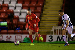 KIDDERMINSTER, ENGLAND - Tuesday, February 28, 2017: Liverpool's Connor Randall in action against West Bromwich Albion during the FA Premier League Cup Group G match at Aggborough Stadium. (Pic by David Rawcliffe/Propaganda)