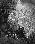 Jacob's dream of a stairway leading to heaven with God at the top.  Genesis 28:12 .From Gustave Dore for ' Bible' 1865-66. Wood engraving
