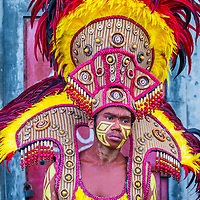 ILOILO , PHILIPPINES - JAN 28 : Participant in the Dinagyang Festival in Iloilo Philippines on January 28 2018. The Dinagyang is religious and cultural festival that honor the Santo Niño