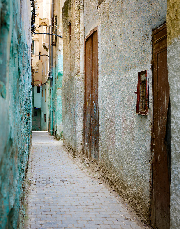 FEZ, MOROCCO - CIRCA MAY 2018:  View of  typical narrow street of the Medina in Fez. Fes el Bali, the oldest medina quarter of the city,.