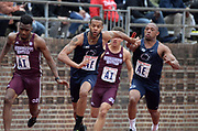 Apr 27, 2018; Philadelphia, PA, USA; Malik Moffett of Penn State takes the handoff from Xavier Smith on the anchor of a 4 x 100m relay heat during the 124th Penn Relays at Franklin Field.
