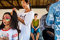 Members of the Phare Circus put on makeup for a performance in Siem Reap, Cambodia.