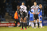 Donervan Daniels reacts at the final whistle during the EFL Sky Bet League 1 match between Gillingham and Rochdale at the MEMS Priestfield Stadium, Gillingham, England on 13 January 2018. Photo by Daniel Youngs.