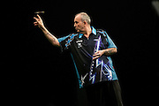 Phil Taylor in his match against Michael Smith during the Premier League Darts  at the Motorpoint Arena, Cardiff, Wales on 31 March 2016. Photo by Shane Healey.
