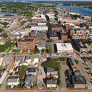 Aerial view of Portsmouth NH showing the corridor from the African Burying Ground Memorial in the center foreground, to 3S Artspace at tcenter rear, by the water. Key points between are The Music Hall, Vaugh Mall, and Port Walk.