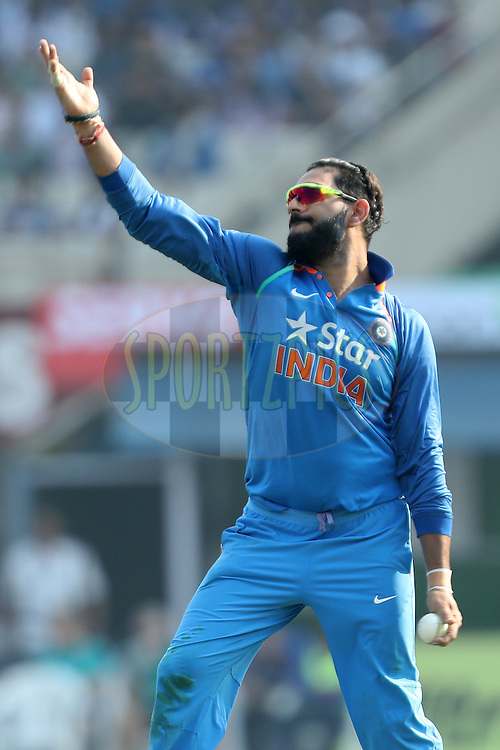 Yuvraj Singh of India during the third One Day International (ODI) between India and England  held at Eden Gardens in Kolkata on the 22nd January 2017<br /> <br /> Photo by: Ron Gaunt/ BCCI/ SPORTZPICS