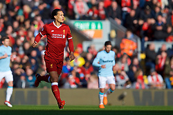 LIVERPOOL, ENGLAND - Saturday, February 24, 2018: Liverpool's Virgil van Dijk during the FA Premier League match between Liverpool FC and West Ham United FC at Anfield. (Pic by David Rawcliffe/Propaganda)