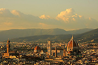 The  beautiful  view of  the center city of Florence with Tuscan hills and mountains in the background.