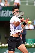 Novak Djokovic (SRB) under pressure during the third round of the Roland Garros Tennis Open 2017 at Roland Garros Stadium, Paris, France on 2 June 2017. Photo by Jon Bromley.