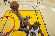 January 23, 2018; Oakland, CA, USA; Golden State Warriors forward Kevin Durant (35) and New York Knicks center Joakim Noah (13) fight for the rebound during the first half at Oracle Arena. The Warriors defeated the Knicks 123-112.