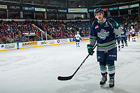 KELOWNA, CANADA - FEBRUARY 23:  Donovan Neuls #19 of the Seattle Thunderbirds skates to the bench to celebrate a first period goal against the Kelowna Rockets on February 23, 2018 at Prospera Place in Kelowna, British Columbia, Canada.  (Photo by Marissa Baecker/Shoot the Breeze)  *** Local Caption ***