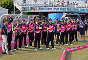 White Ferns watch the presentation ceremony after losing the international T20 Final against England Women at the County Ground, Chelmsford. Photo: Graham Morris/www.photosport.nz 01/07/18