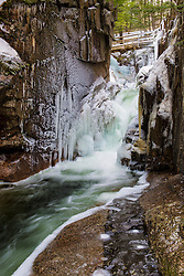 Ice and Sabbaday Falls in New Hampshire's White Mountains.