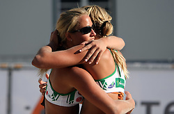 Simona Fabjan and her sister Erika Fabjan (Champion Team) at qualifications for 14th National Championship of Slovenia in Beach Volleyball and also 4th tournament of series TUSMOBIL LG presented by Nestea, on July 25, 2008, in Kranj, Slovenija. (Photo by Vid Ponikvar / Sportal Images)/ Sportida)