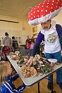 Man in mushroom costume, Fungus Fair, Santa Cruz, Monterey Bay, California