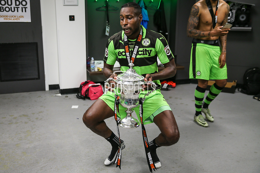 Forest Green Rovers Dale Bennett(6) with the trophy during the Vanarama National League Play Off Final match between Tranmere Rovers and Forest Green Rovers at Wembley Stadium, London, England on 14 May 2017. Photo by Shane Healey.