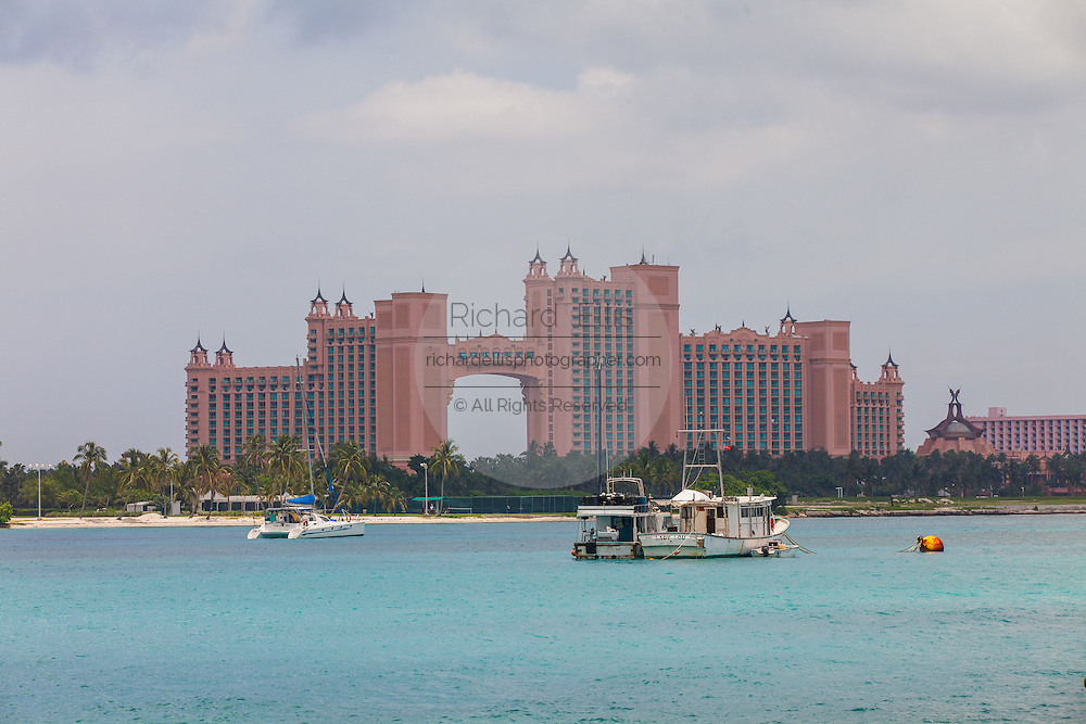 View of the Atlantis Resort on Paradise Island in Nassau, Bahamas.