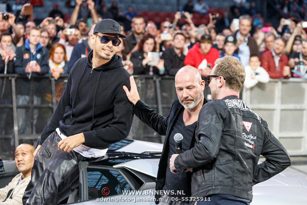 NLD/Amsterdam/20150526 - Gumball 3000 aankomst in de Amsterdam Arena, Afrojack en Eddy Zoey