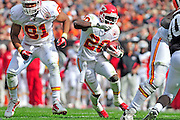 Sept. 19, 2010; Cleveland, OH, USA; Kansas City Chiefs running back Thomas Jones (20) gets protection from tight end Tony Moeaki (81) during the third quarter against the Cleveland Browns at Cleveland Browns Stadium. Mandatory Credit: Jason Miller-US PRESSWIRE