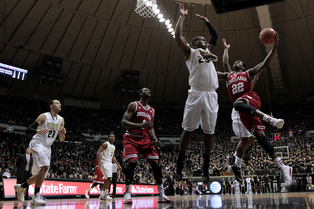 15 February 2014: Indiana Guard Stanford Robinson (22) as the Indiana Hoosiers played the Purdue Boilermakers in a college basketball game in West Lafayette, Ind.