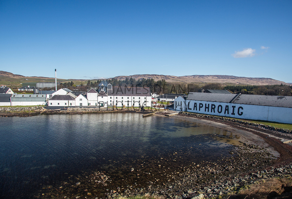 An early morning view of Laphroaig Distillery on the island of Islay