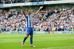Anthony Knockaert of Brighton & Hove Albion celebrates Solly March of Brighton & Hove Albion goal, Brighton & Hove Albion 2-0 Wigan Athletic - Mandatory by-line: Jason Brown/JMP - 17/04/2017 - FOOTBALL - Amex Stadium - Brighton, England - Brighton and Hove Albion v Wigan Athletic - Sky Bet Championship