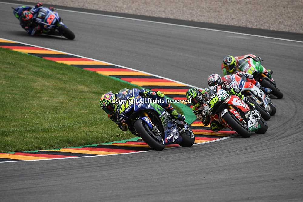 July 2nd 2017, Sachsenring Circuit, Oberlungwitz, Germany; MotoGP Grand Prix of Germany;  Valentino Rossi (Movistar Yamaha) accelrates out of the corner during the race