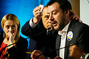 Giorgia Meloni, Silvio Berlusconi, Matteo Salvini and Raffaele Fitto, attends at a political meeting organised by the centre-right coalition for the upcoming general political election in Rome, 1 March 2018. Christian Mantuano / OneShot