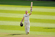Century for Chris Rogers - Chris Rogers of Somerset raises his bat in celebration on scoring his second 100 for the match during the Specsavers County Champ Div 1 match between Somerset County Cricket Club and Nottinghamshire County Cricket Club at the Cooper Associates County Ground, Taunton, United Kingdom on 22 September 2016. Photo by Graham Hunt.